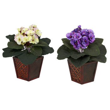 African Violet w/Vase Silk Plant Set of 2 - SKU #6685-S2