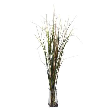 Grass Bamboo w/Glass Vase Silk Plant - SKU #6690