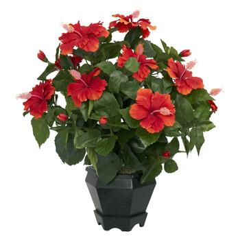 Hibiscus w/Black Hexagon Vase Silk Plant - SKU #6691