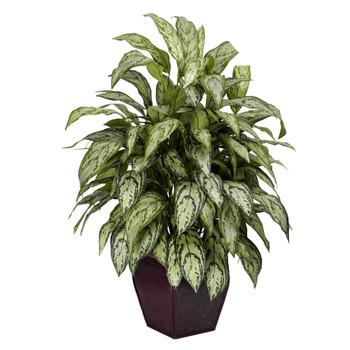 Silver Queen w/Decorative Planter Silk Plant - SKU #6693