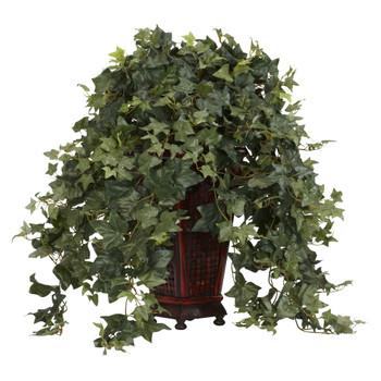 Vining Puff Ivy w/Decorative Vase Silk Plant - SKU #6702