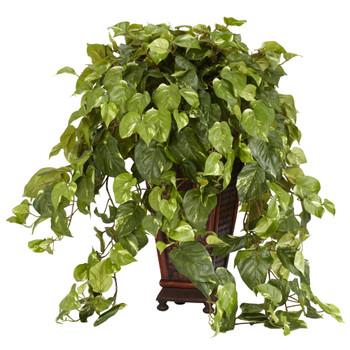Vining Pothos w/Decorative Vase Silk Plant - SKU #6703
