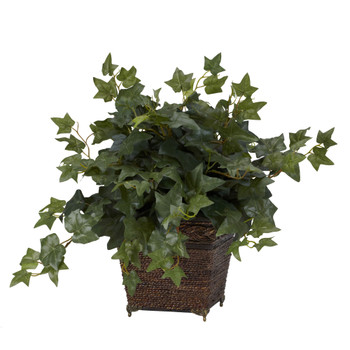 Puff Ivy w/Coiled Rope Planter Silk Plant - SKU #6705