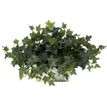 Ivy w/White Wash Planter Silk Plant - SKU #6715