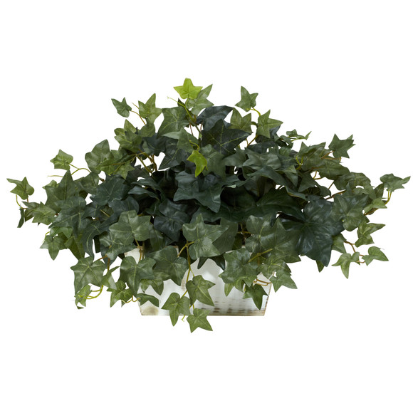 Ivy w/White Wash Planter Silk Plant - SKU #6715