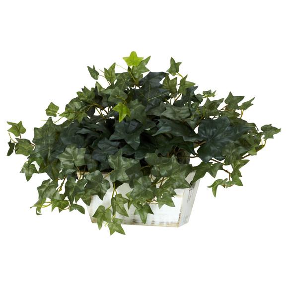 Ivy w/White Wash Planter Silk Plant - SKU #6715 - 1