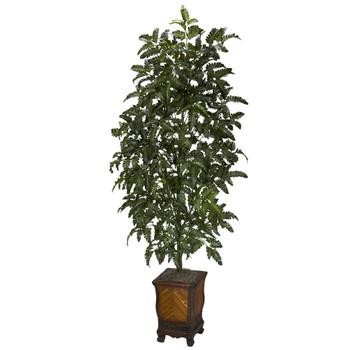 Bracken Fern w/Decorative Vase Silk Plant - SKU #6716