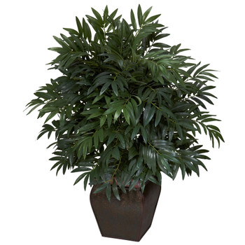 Double Bamboo Palm w/Decorative Planter Silk Plant - SKU #6718