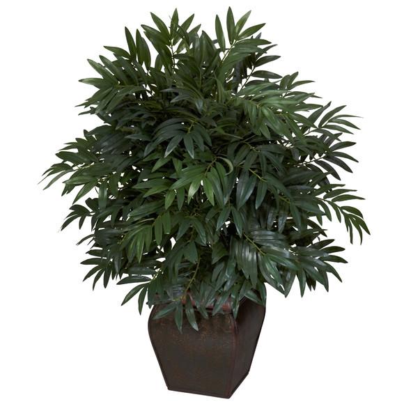 Double Bamboo Palm w/Decorative Planter Silk Plant - SKU #6718