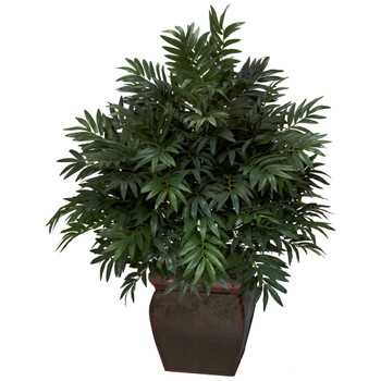 Triple Bamboo Palm w/Decorative Planter Silk Plant - SKU #6719