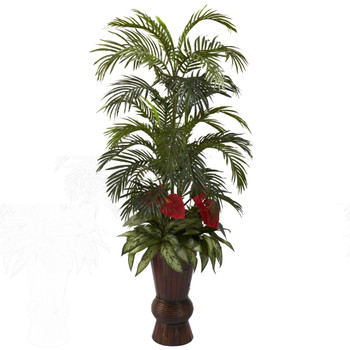 Areca Mixed Greens w/Bamboo Planter - SKU #6722