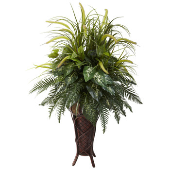 Mixed Greens Cattails w/Stand Planter - SKU #6725
