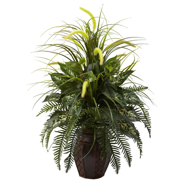 Mixed Greens Cattails w/Planter - SKU #6727