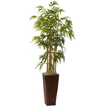 4 Bamboo w/Decorative Planter - SKU #6737