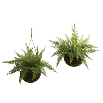 Leather Fern w/Mossy Hanging Basket Indoor/Outdoor Set of 2 - SKU #6743-S2