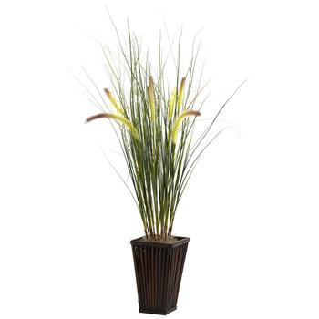 Grass w/Cattails Bamboo Planter - SKU #6745