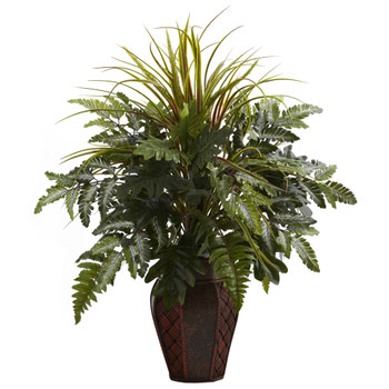 Mixed Grass Fern w/Decorative Planter - SKU #6754