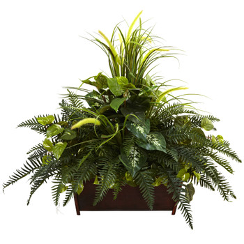Mixed Grass River Fern w/Wood Planter - SKU #6792