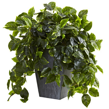 Hanging Pothos w/Slate Planter UV Resistant Indoor/Outdoor - SKU #6799