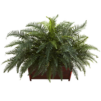 River Fern w/Wood Planter - SKU #6804