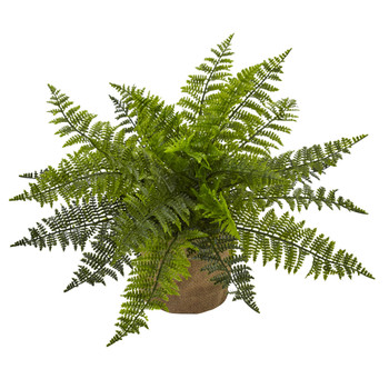 15 Ruffle Fern Bush w/Burlap Base Set of 2 - SKU #6815-S2