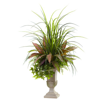 3 Mixed Grass Dracena Sage Ivy Fern w/Planter - SKU #6827