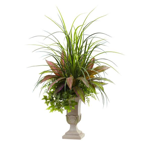 3 Mixed Grass Dracena Sage Ivy Fern w/Planter - SKU #6827