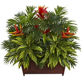 Tropical Garden w/Wood Planter - SKU #6833