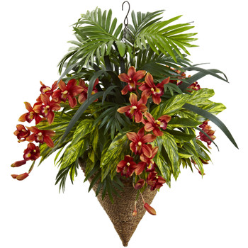 Mixed Tropical Cymbidum Hanging Basket - SKU #6850
