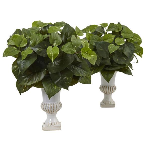 Pothos Silk Plant with Urn Set of 2 - SKU #6873-S2