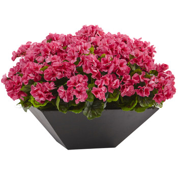 Geranium with Black Planter UV Resistant Indoor/Outdoor - SKU #6889-BU