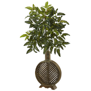 Bracken Fern with Open Weave Planter - SKU #6890