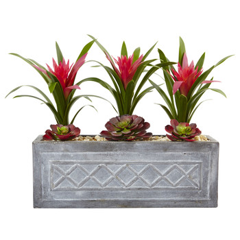 Ginger and Succulent Artificial Plant in Stone Planter - SKU #6924