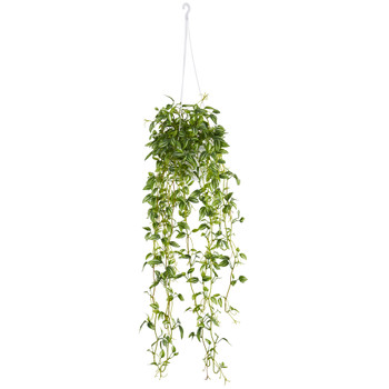 Green Variegated Wandering Jew Hanging Basket Artificial Plant - SKU #6946