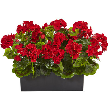 Geranium in Rectangular Planter UV Resistant Indoor/Outdoor - SKU #6949-RD