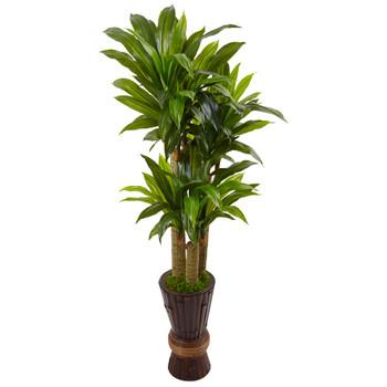 5 Cornstalk Dracaena Artificial Plant in Planter Real Touch - SKU #6957