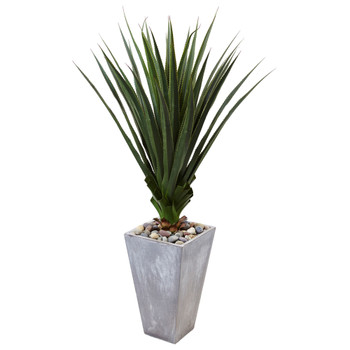 Spiked Agave in Cement Planter Indoor/Outdoor - SKU #6967