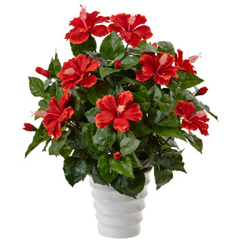Hibiscus in Swirl Planter - SKU #6976
