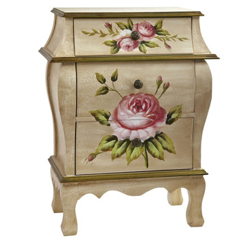Antique Night Stand w/Floral Art - SKU #7012