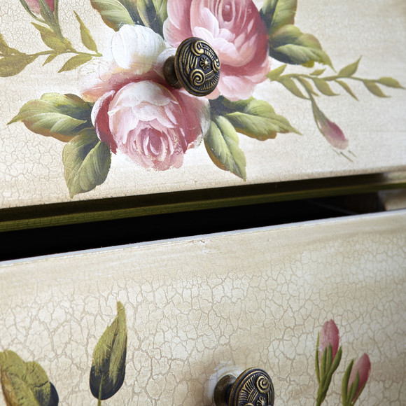 Antique Night Stand w/Floral Art - SKU #7012 - 2