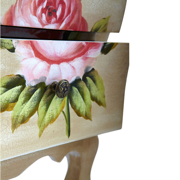 Antique Night Stand w/Floral Art - SKU #7012 - 4