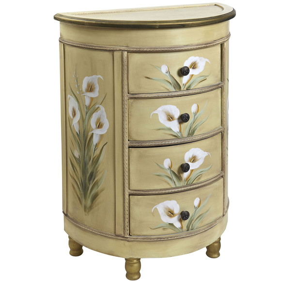 Antique Accessory Table w/Calla Lily Floral Art - SKU #7013