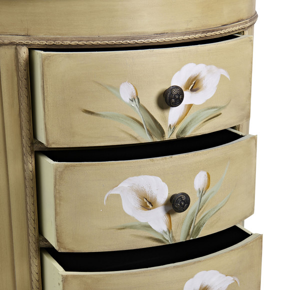 Antique Accessory Table w/Calla Lily Floral Art - SKU #7013 - 1