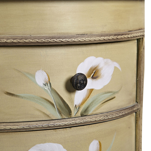 Antique Accessory Table w/Calla Lily Floral Art - SKU #7013 - 2