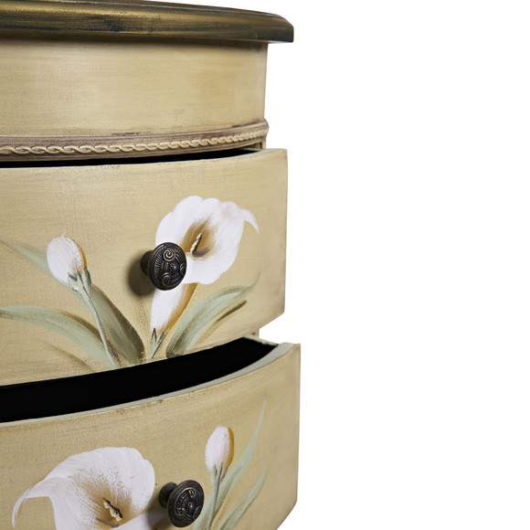 Antique Accessory Table w/Calla Lily Floral Art - SKU #7013 - 3