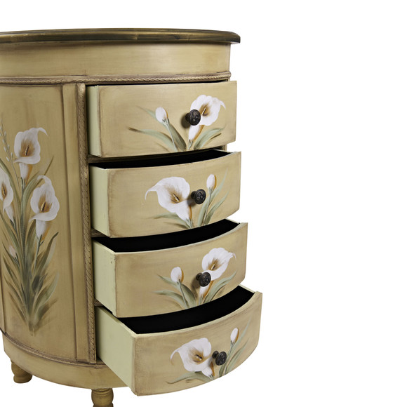 Antique Accessory Table w/Calla Lily Floral Art - SKU #7013 - 5