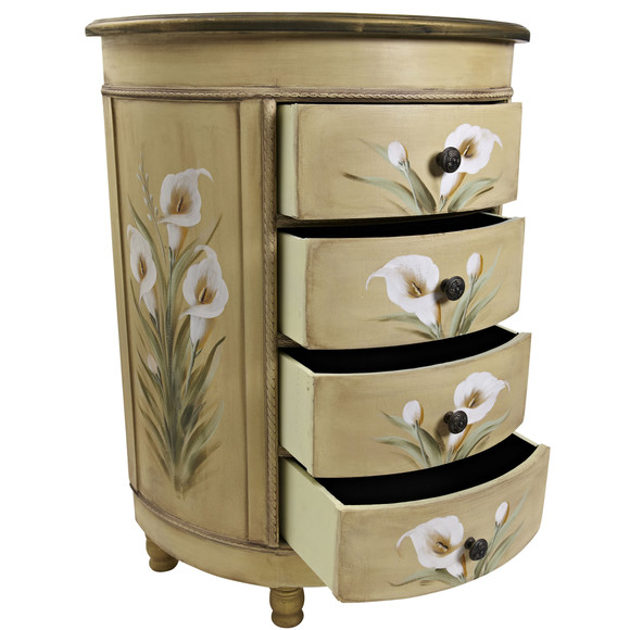 Antique Accessory Table w/Calla Lily Floral Art - SKU #7013 - 6