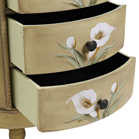 Antique Accessory Table w/Calla Lily Floral Art - SKU #7013 - 7