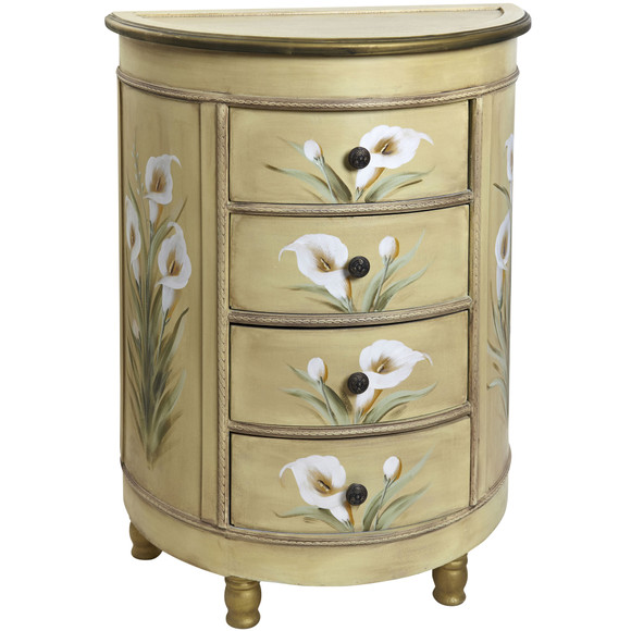 Antique Accessory Table w/Calla Lily Floral Art - SKU #7013 - 11