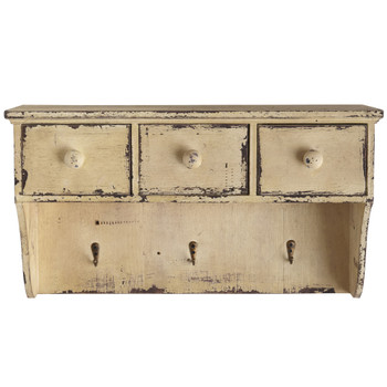 Distressed Wooden Shelf with Drawers and Hooks - SKU #7019